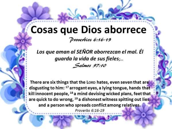 Cosas Que Dios Aborrece Aug-20-17